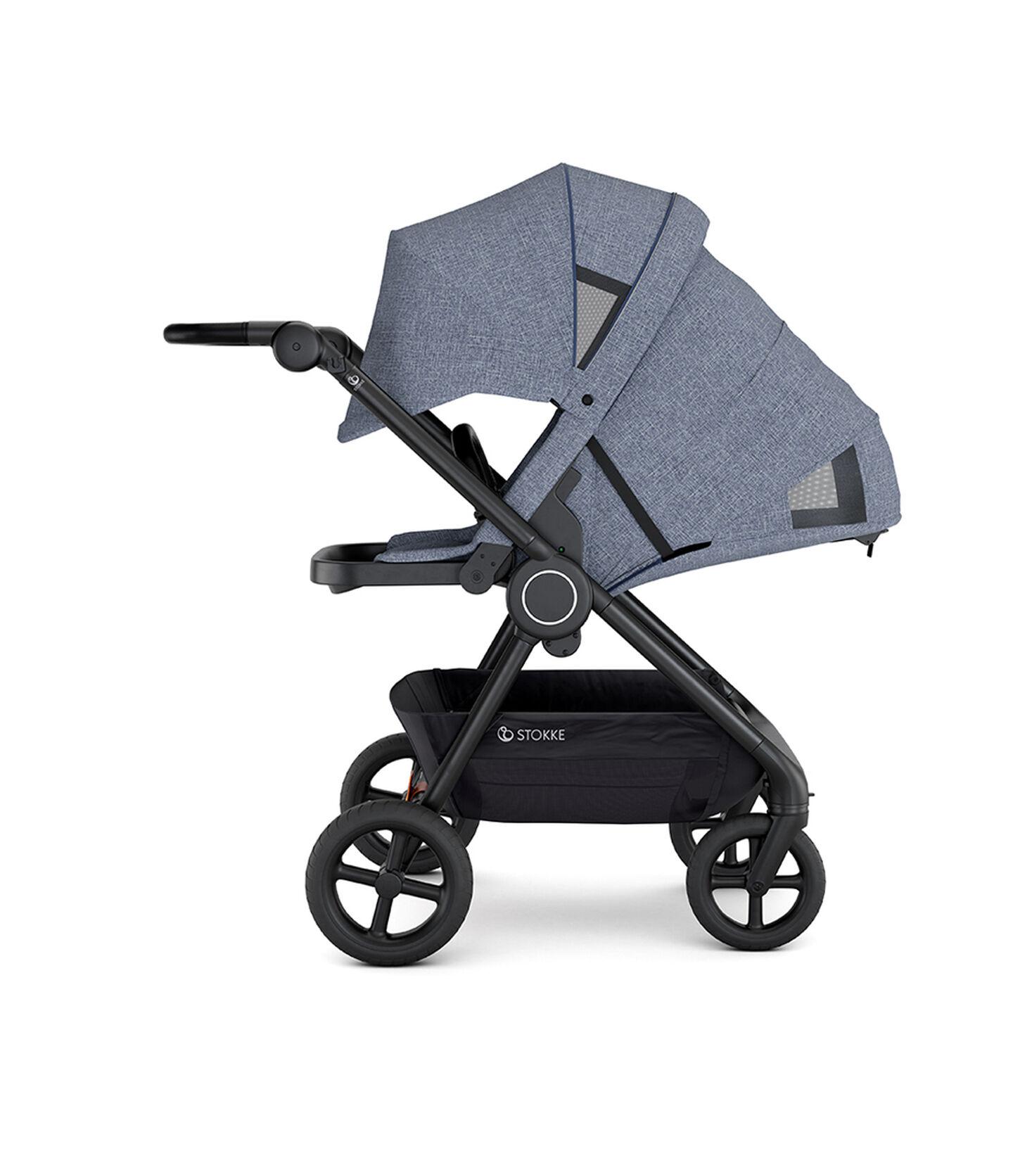 Stokke® Beat™ with Seat. Blue Melange. Parent facing. Sleep position.