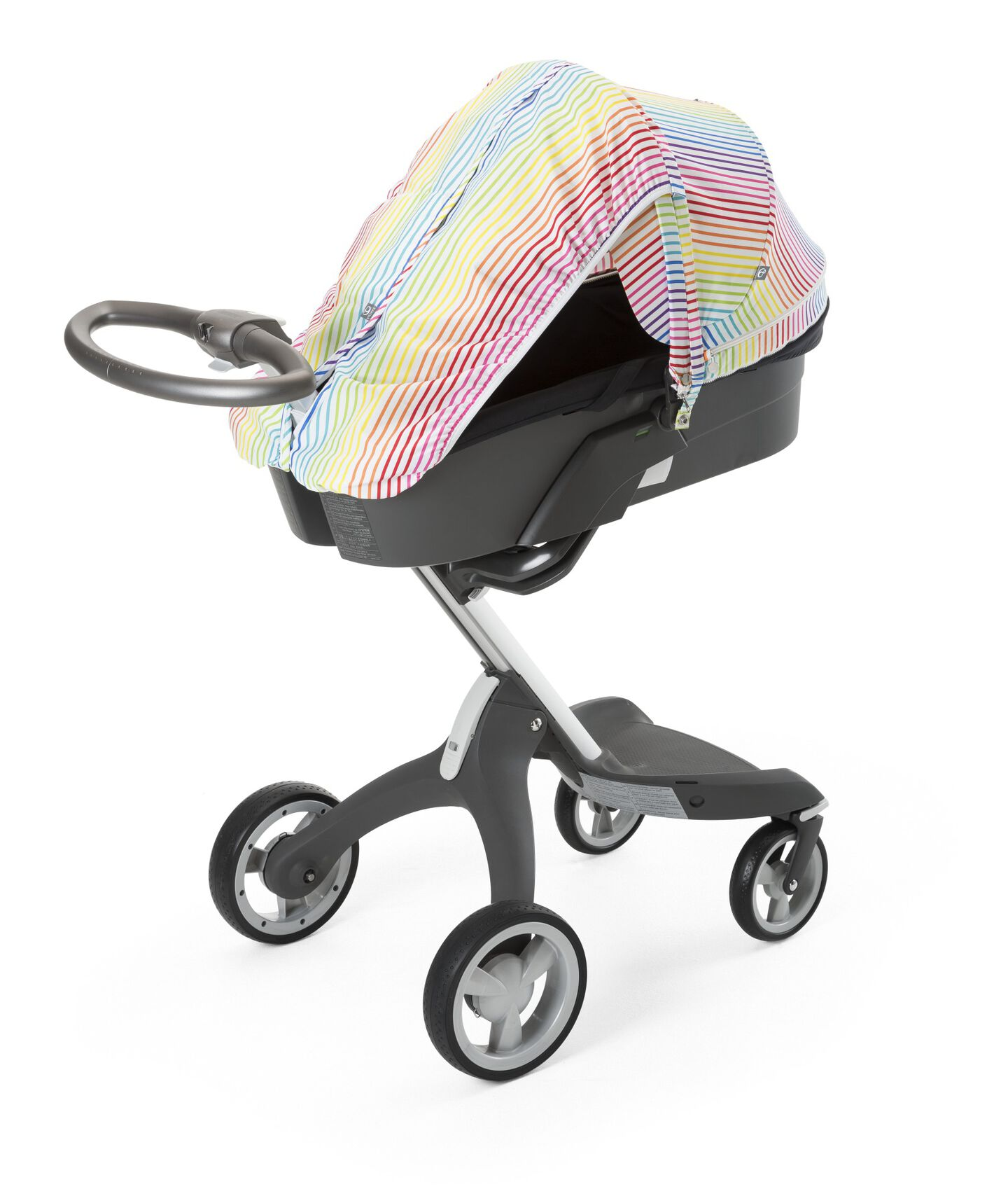 Stokke® Xplory® with Carry Cot and Multi Stripe Summer Kit.