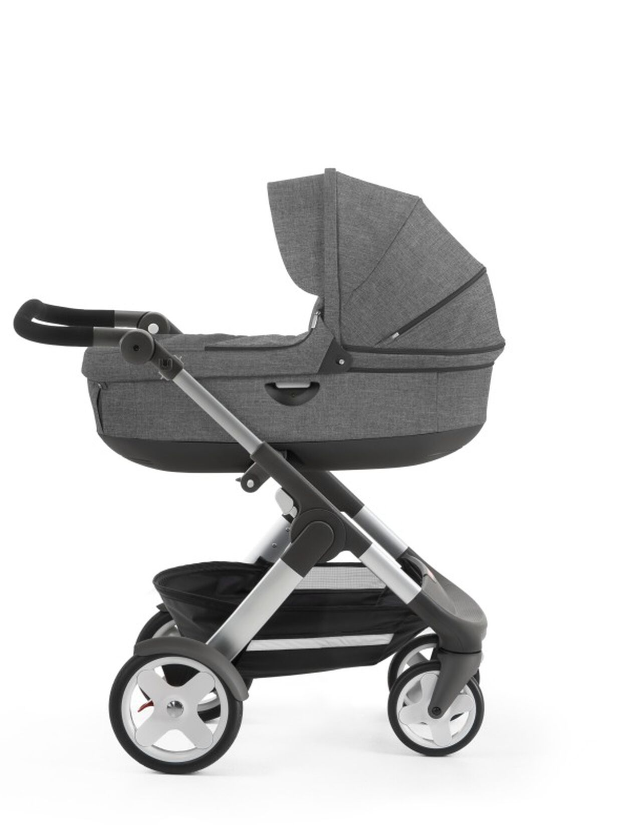Stokke® Trailz™ with Stokke® Stroller Carry Cot, Black Melange. Classic Wheels. view 1