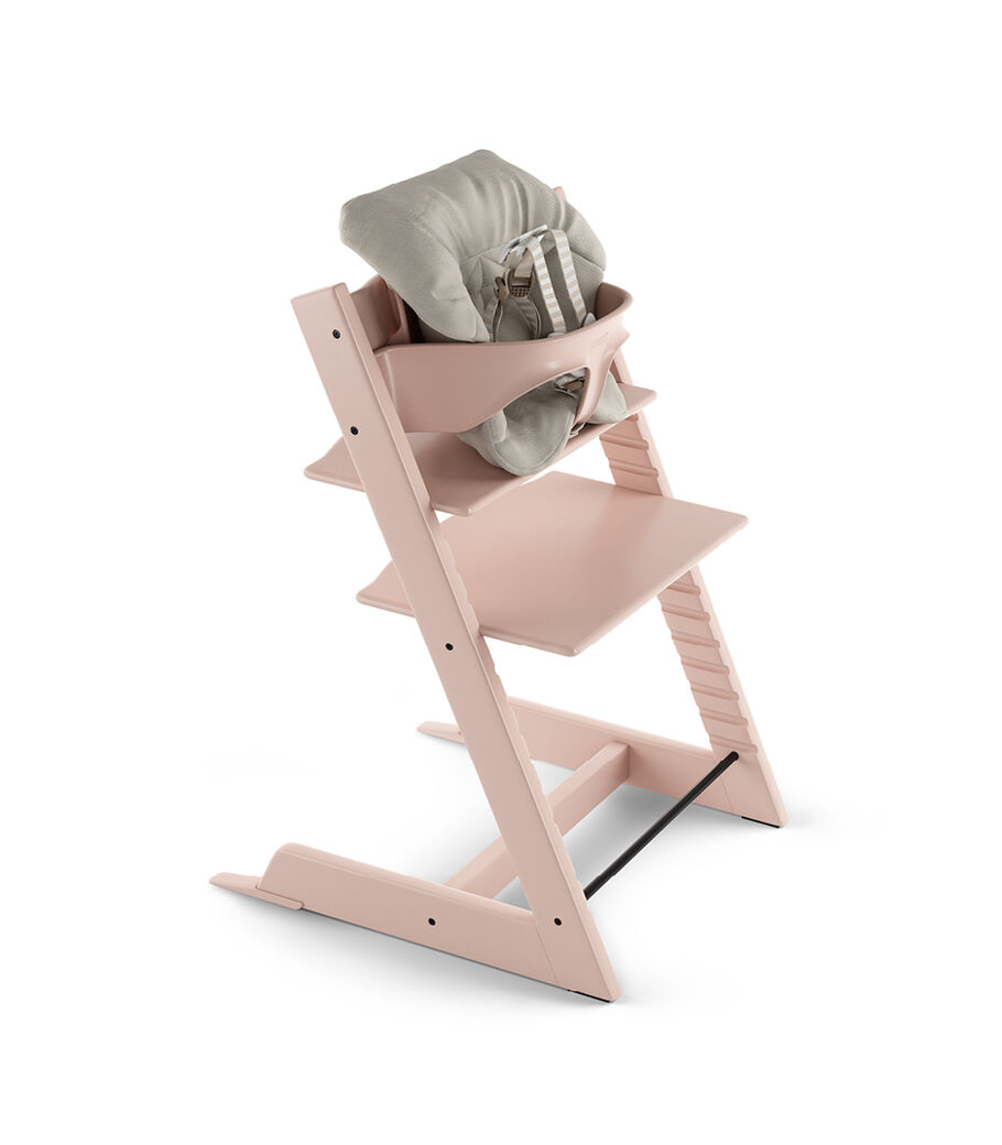 Tripp Trapp® Serene Pink with Baby Set and Baby Cushion Timeless Grey. US version.
