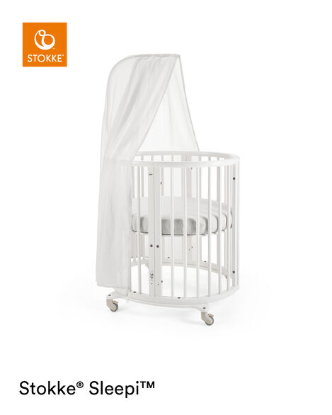 Stokke® Sleepi™ Mini, White. Canopy, Fitted Sheet White. view 6