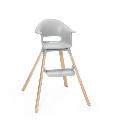 Stokke® Clikk™ High Chair. Natural Beech wood and Light Grey plastic parts.