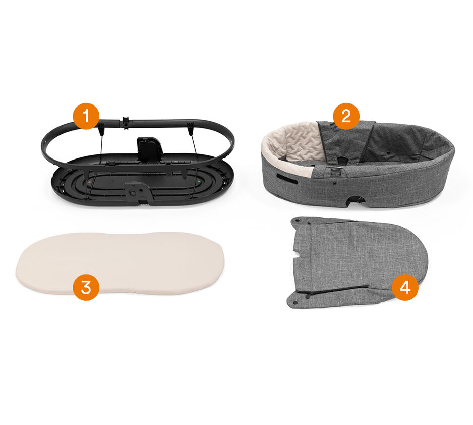 Stokke® Beat™ Carry Cot in Black Melange. What is included.