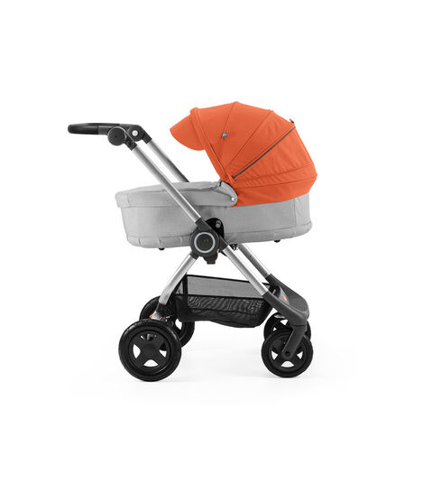 Stokke® Scoot™ with Carry Cot, Grey Melange and Orange Canopy.