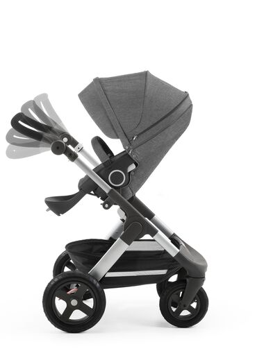 Stokke® Trailz™ with Stokke® Stroller Seat Black Melange. Handle positions.