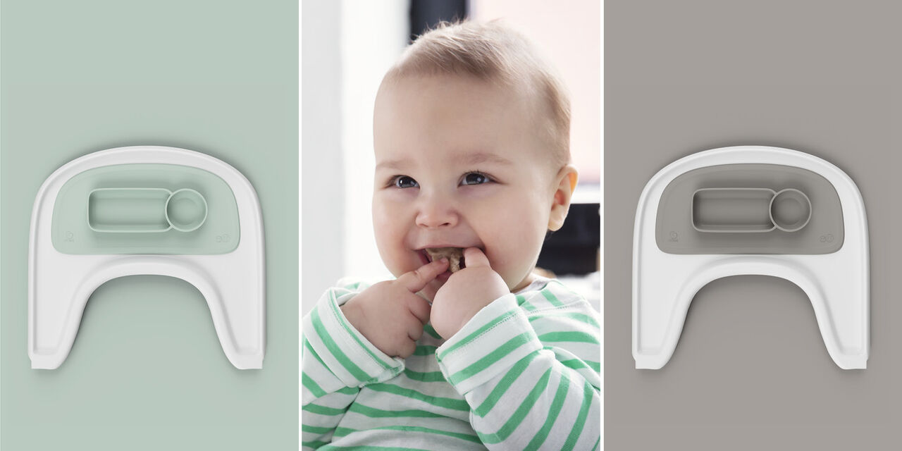 ezpz™ by Stokke®, Soft Grey and Soft Mint. Used with Stokke® Tray White for Tripp Trapp®. view 1