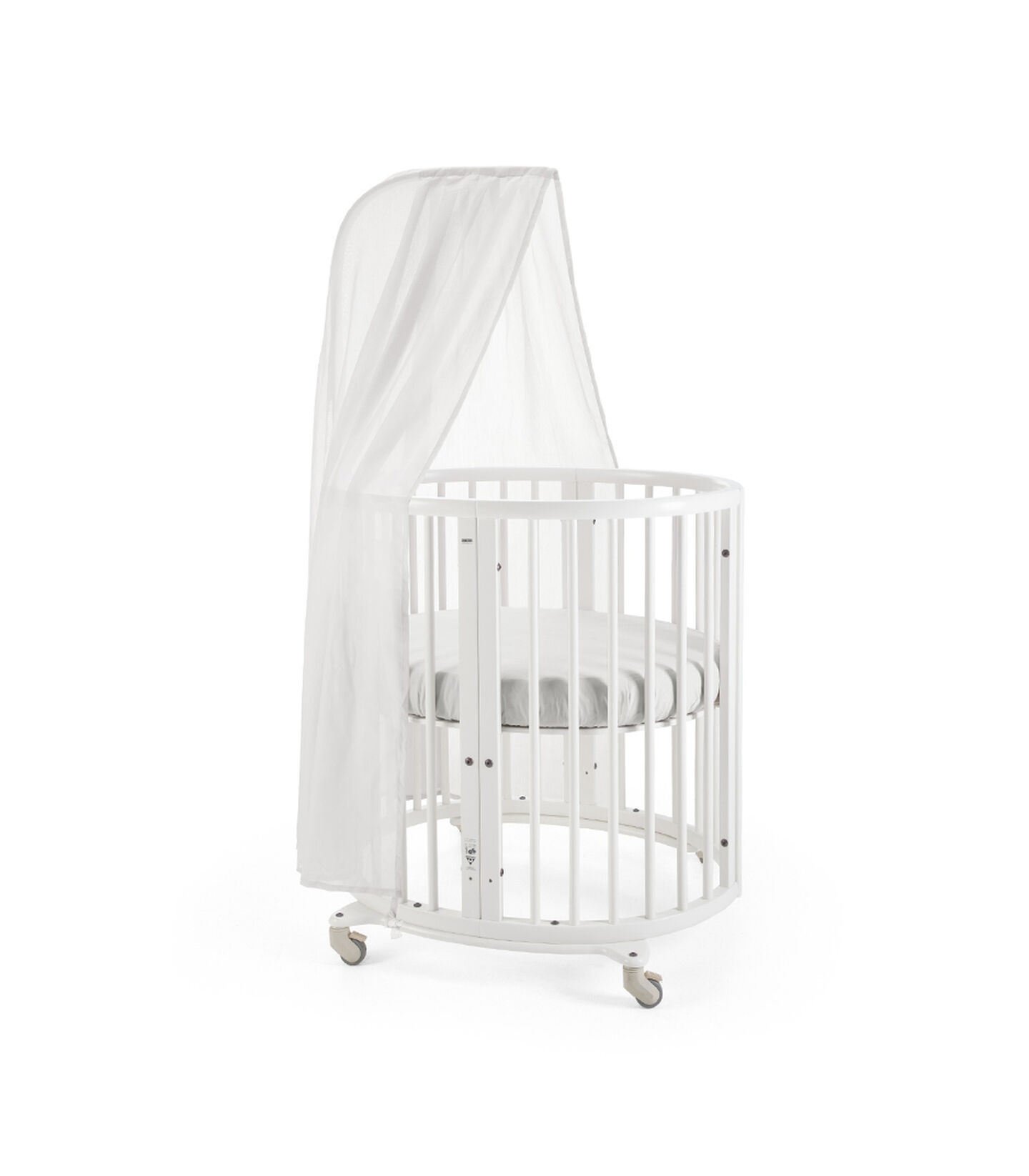 Stokke® Sleepi™ Mini, White. Canopy, Fitted Sheet White.