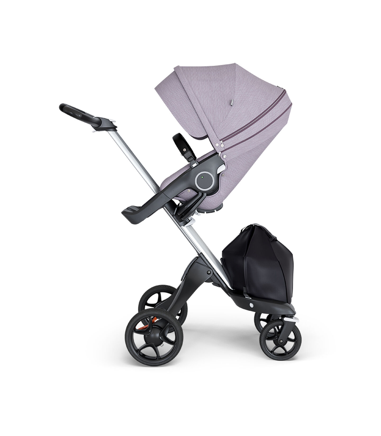 Stokke® Xplory® wtih Silver Chassis and Leatherette Black handle. Stokke® Stroller Seat Brushed Lilac. view 1