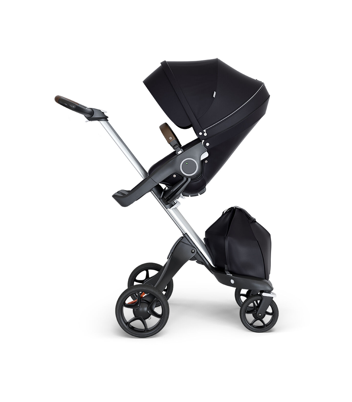 Stokke® Xplory® wtih Silver Chassis and Leatherette Brown handle. Stokke® Stroller Seat Black. view 1
