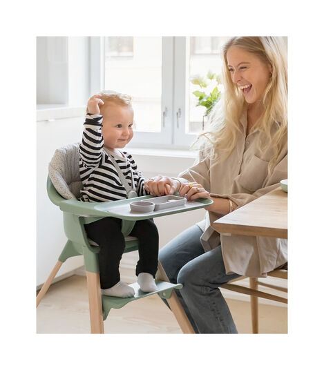 Stokke® Clikk™ High Chair. Natural Beech wood and Clover Green plastic parts. view 2