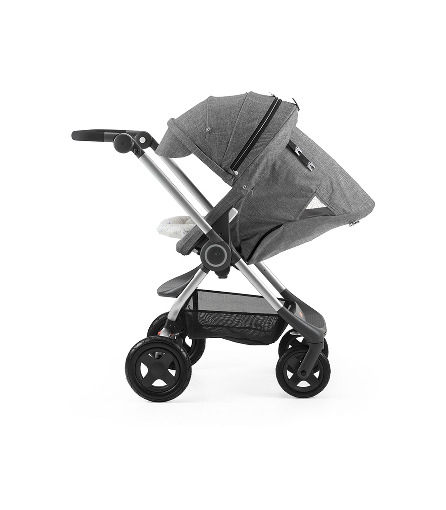 Stokke® Scoot™ with Black Melange seat and Canopy. Parent Facing. Sleep position.