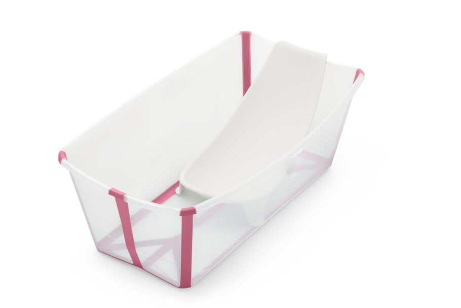 Stokke® Flexi Bath® bath tub, Transparent Pink with Newborn insert.