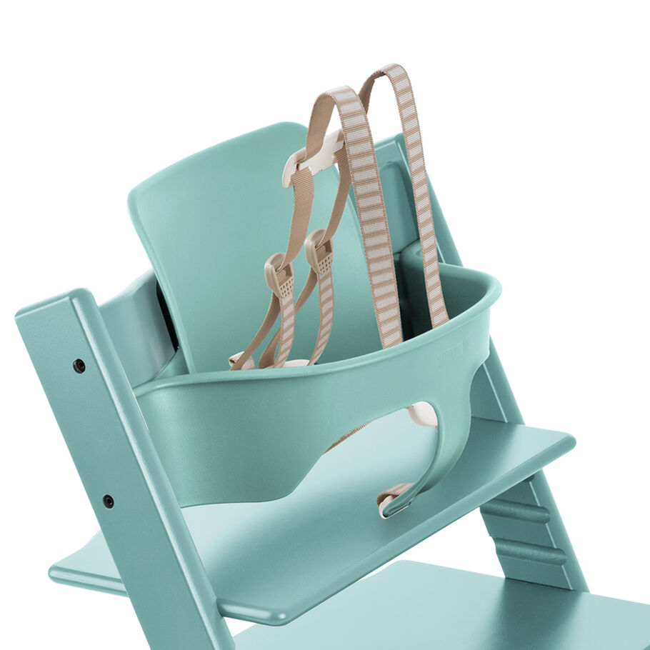 Tripp Trapp®, Aqua Blue, with Baby Set White. Detail. US version.