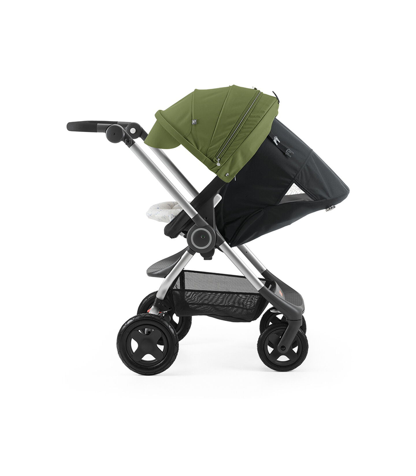 Stokke® Scoot™ with Black seat and Green Canopy. Parent Facing. Sleep position.