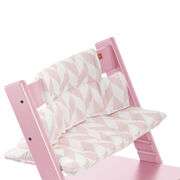Tripp Trapp® Pink with Pink Chevron cushion. Detail.