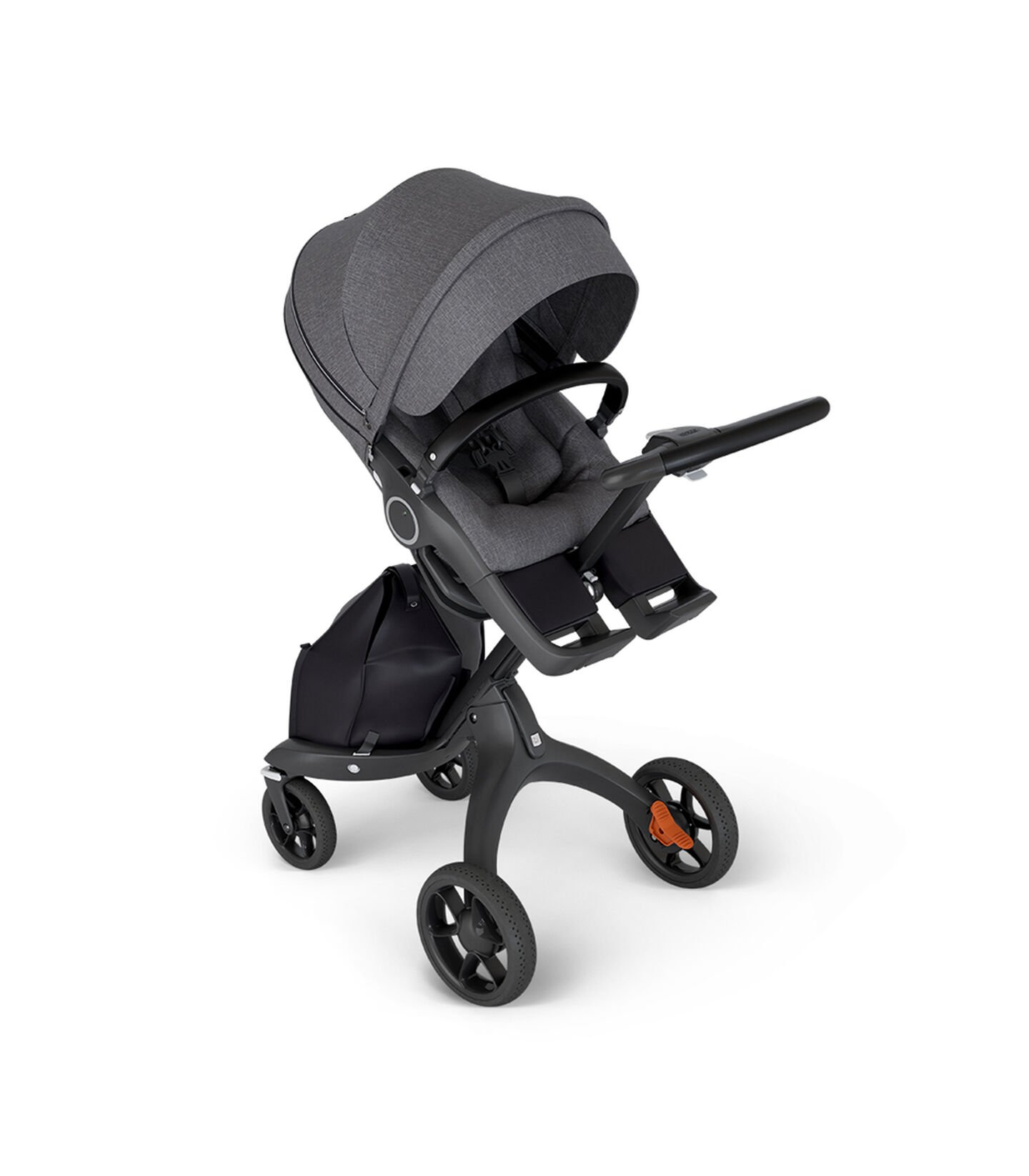 Stokke® Xplory® with Black Chassis and Leatherette Black handle. Stokke® Stroller Seat Black Melange in angled view.