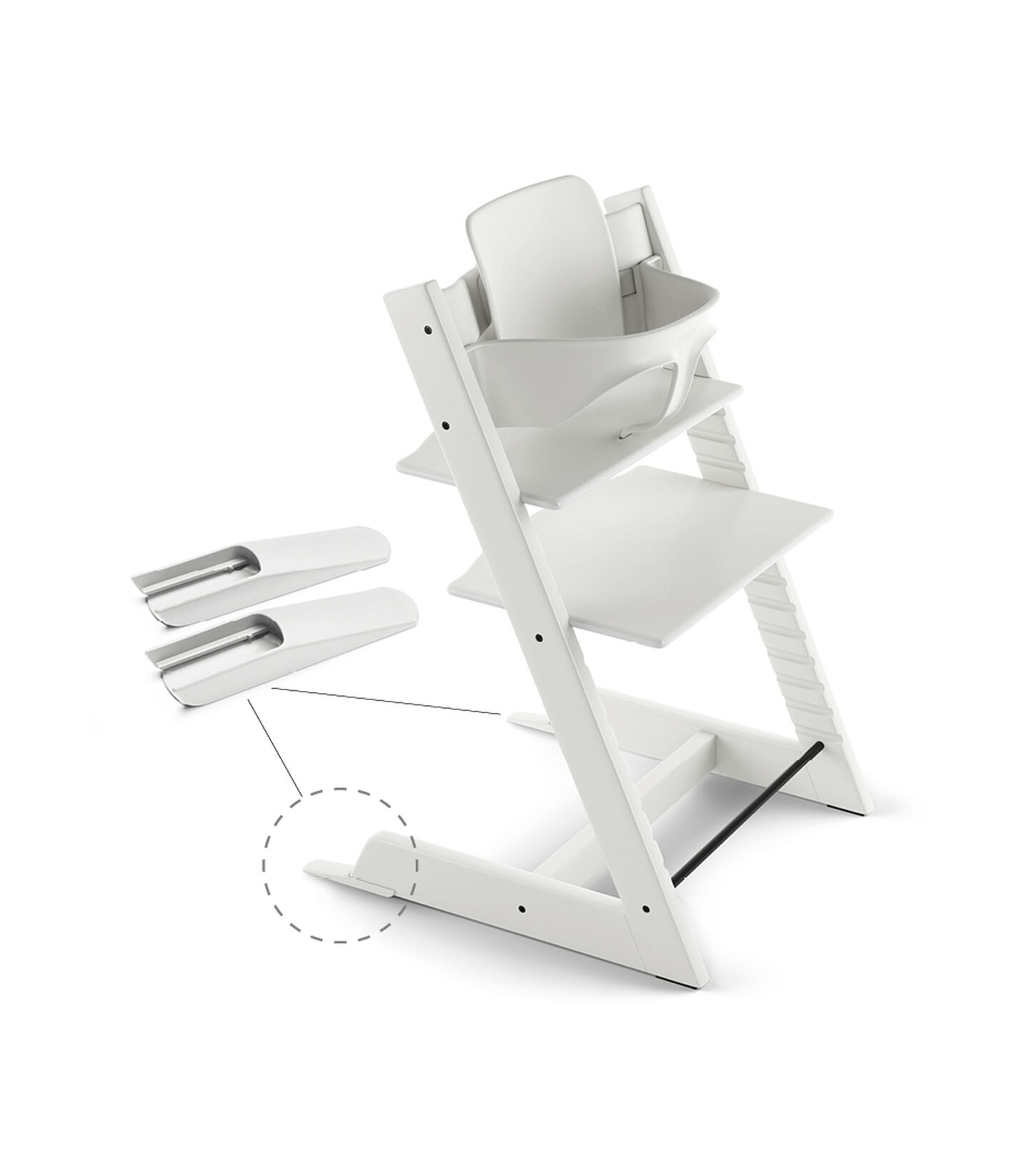 Tripp Trapp® Chair White, Beech, with Baby Set. view 2