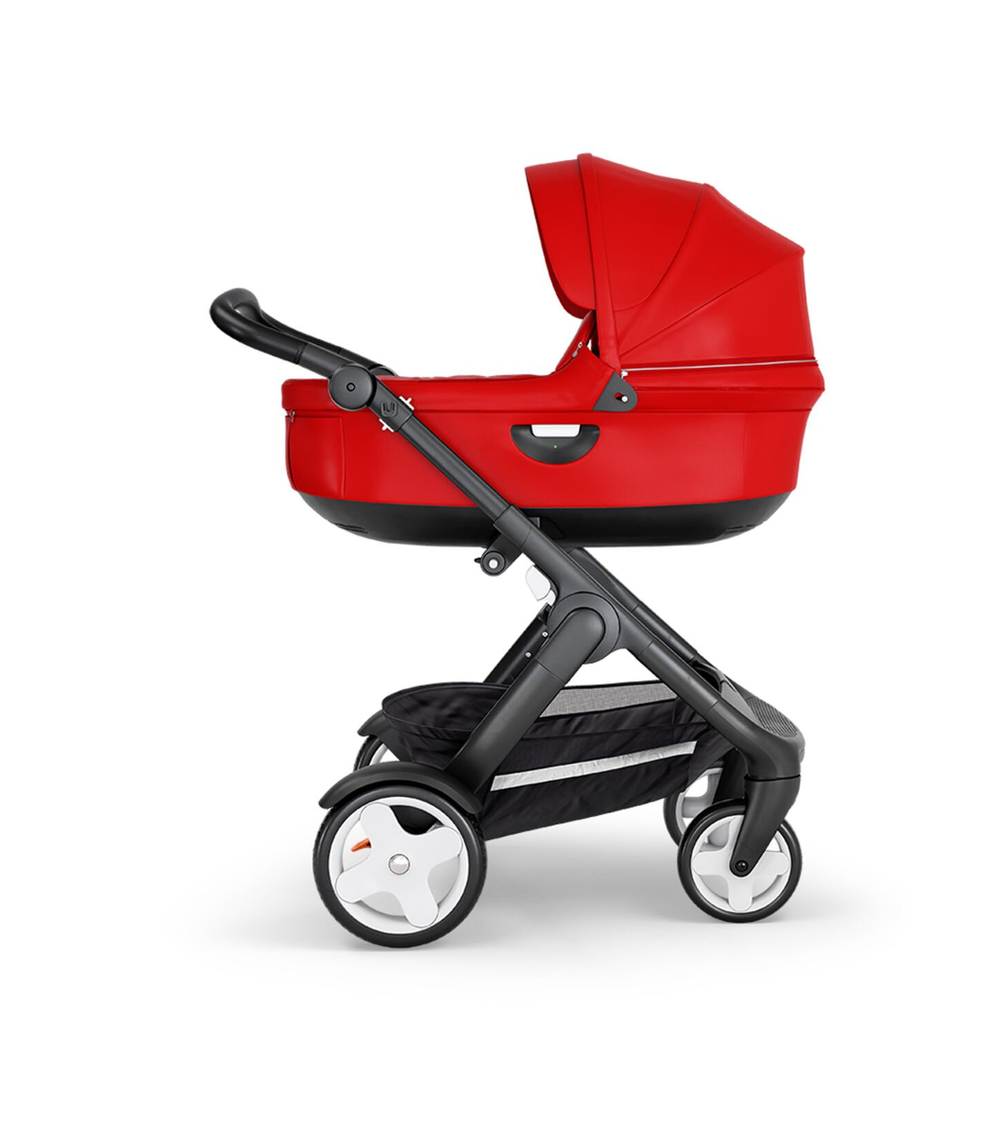 Stokke® Trailz™ with Black Chassis, Black Leatherette and Classic Wheels. Stokke® Stroller Carry Cot, Red