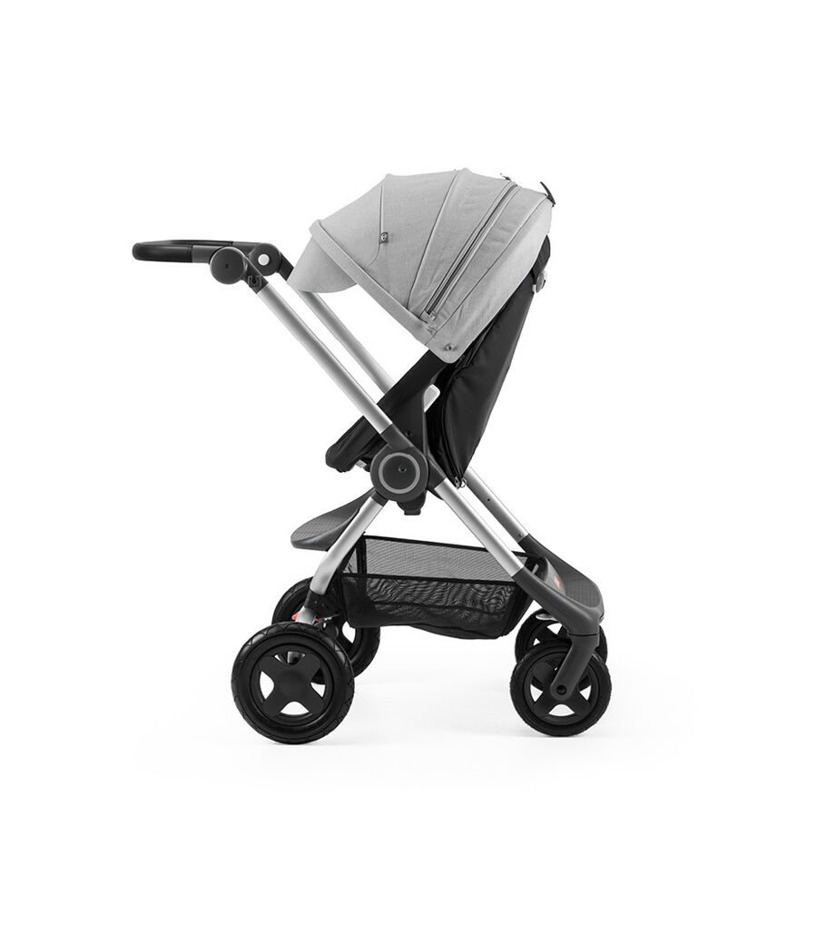 Stokke® Scoot™ Black with Grey Melange Canopy. Parent facing, active position.