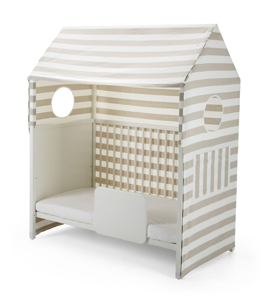 Stokke® Home™ Bed, White, With Tent and Bed Guard.