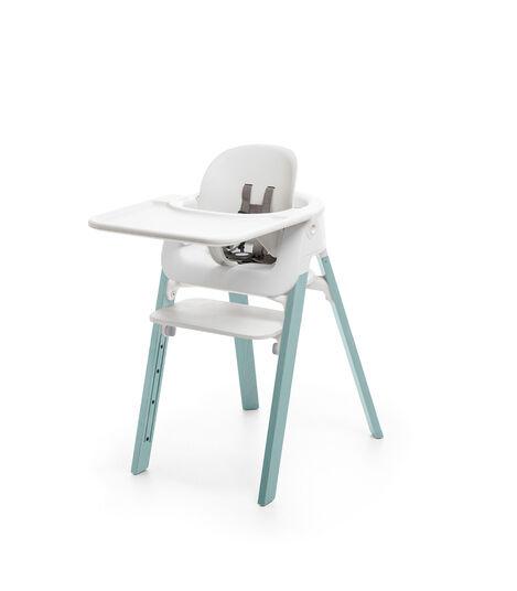 Stokke® Steps™ Chair White Seat Aqua Blue Legs, Aqua Blue, mainview view 3