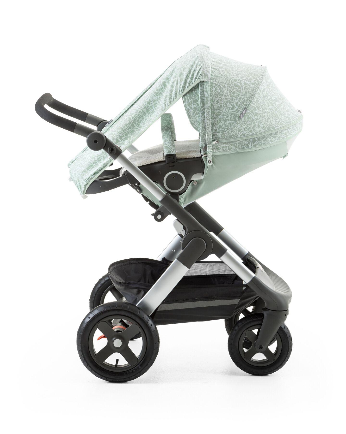 Stokke® Trailz™ with Stokke® Stroller Summer Kit Scribble Salty Blue.