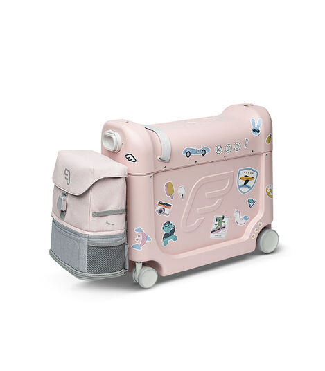 JetKids™ by Stokke® BedBox V3 and Crew BackPack in Pink Lemonade. Decorated with Stickers. view 9