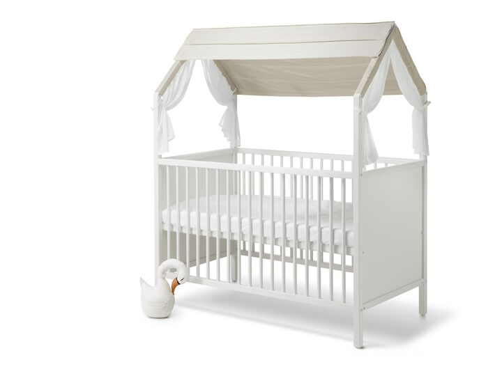 Stokke® Home™ Bed with Stokke® Home™ Bed Roof textile, Natural. view 1