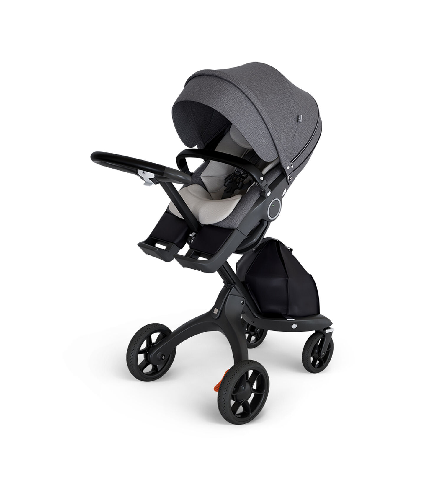 Stokke® Xplory® with Black Chassis and Stokke Stroller Seat Black Melange with Seat Inlay Mesh.