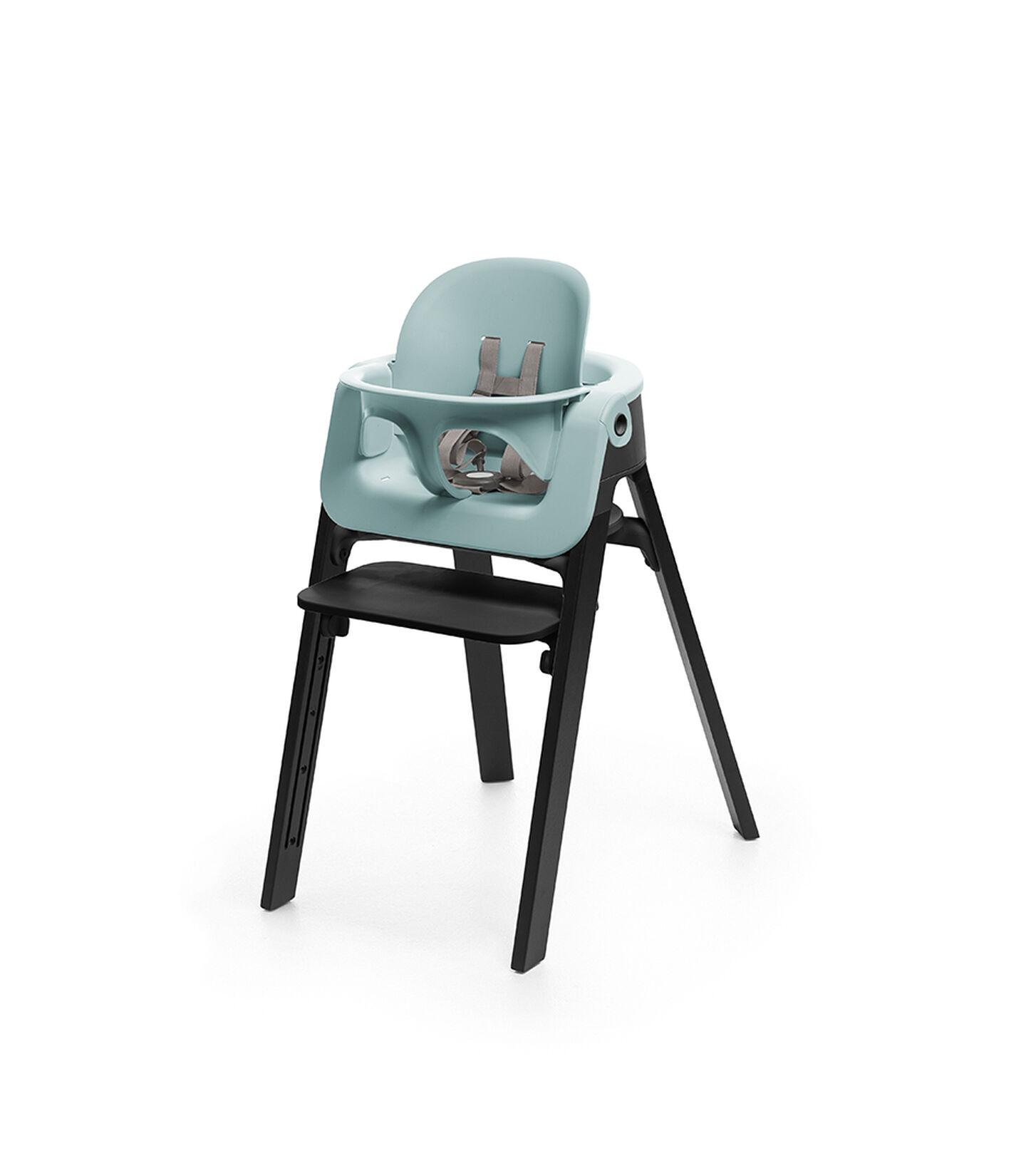 Stokke® Steps™ Chair Oak Black, with Baby Set Aqua Blue.
