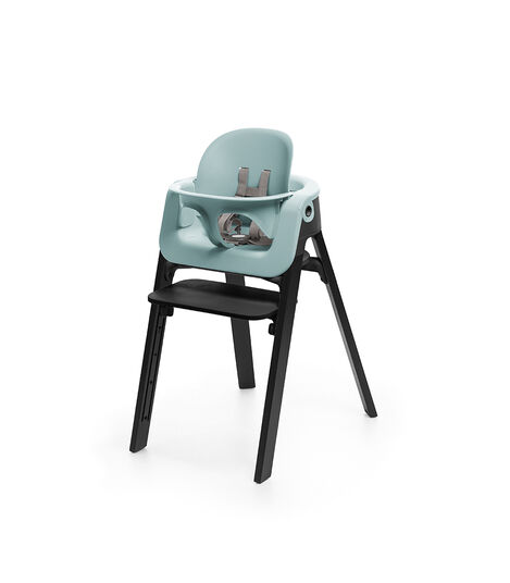 Stokke® Steps™ Chair Oak Black, with Baby Set Aqua Blue.