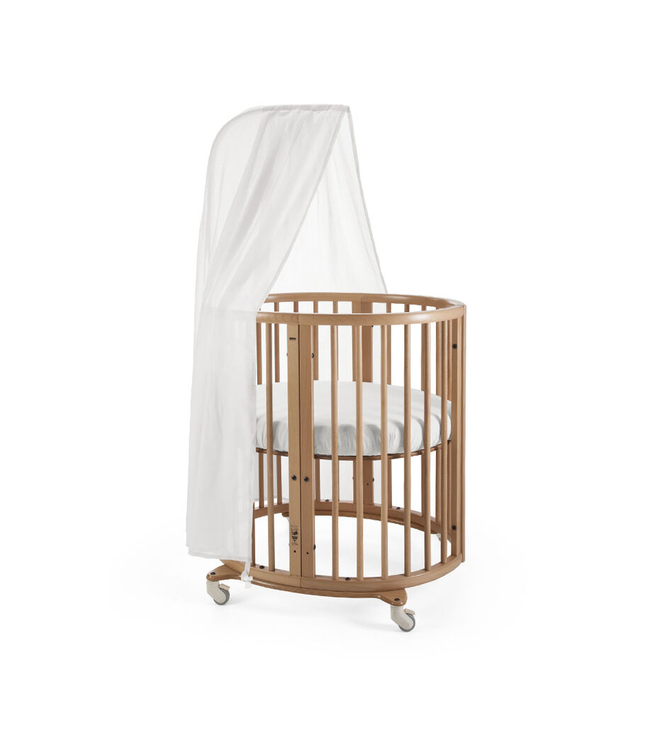 Stokke® Sleepi Mini, Natural. Canopy and Fitted Sheet White.