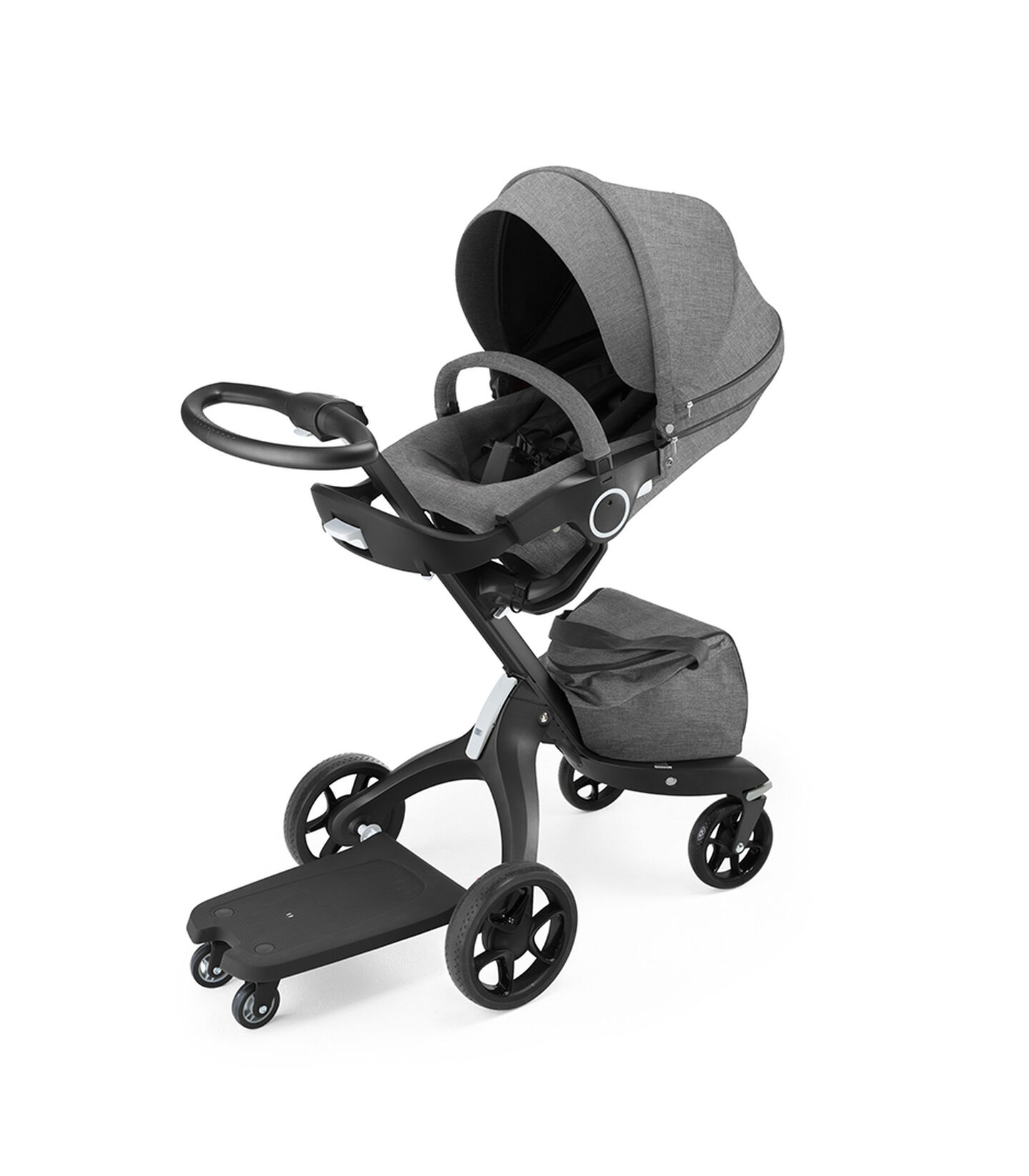 Stokke® Xplory® With Stokke® Stroller Seat Black Melange, and Sibling Board, Black, attached.