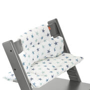 Tripp Trapp® Storm Grey with Aqua Star cushion. Detail.
