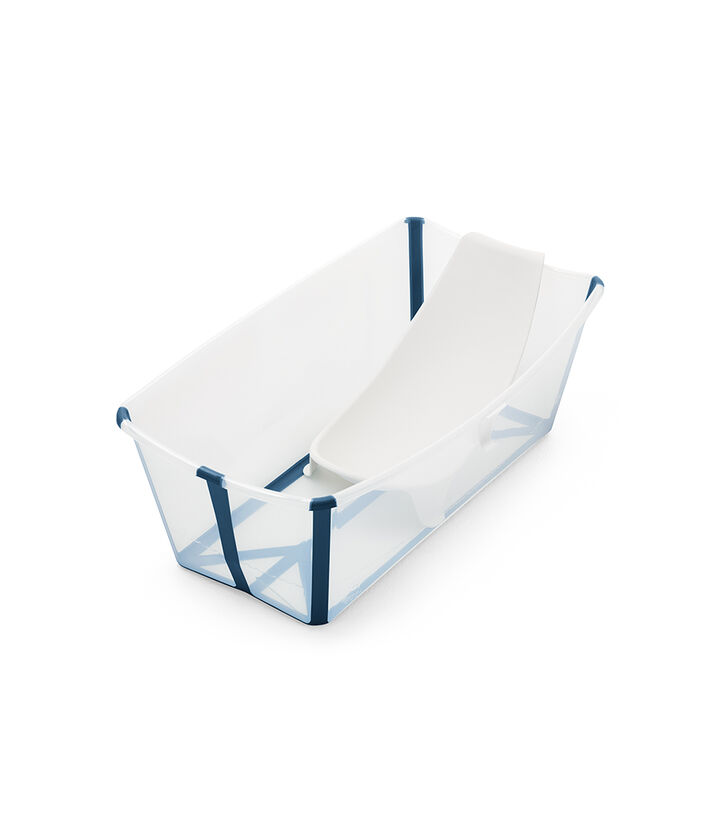 Stokke® Flexi Bath® bath tub, Transparent Blue with Newborn insert. view 1