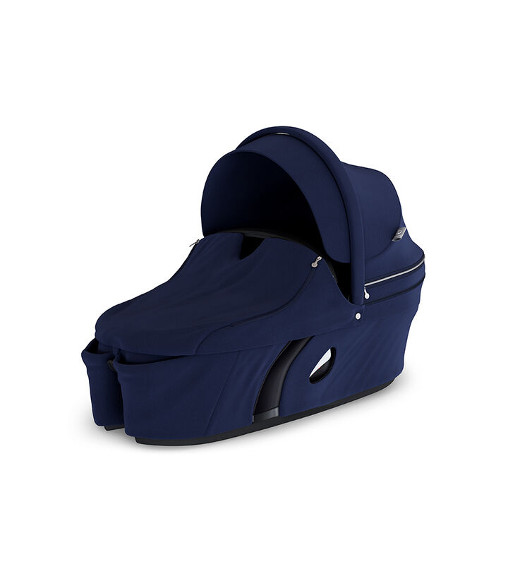 Stokke® Xplory® Carry Cot Deep Blue. With Storm Cover. view 1
