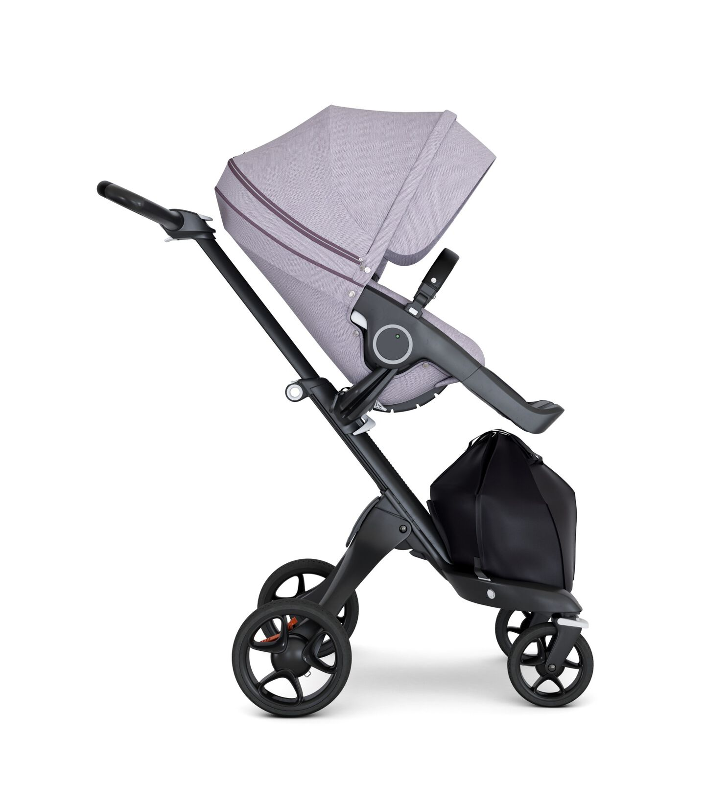 Stokke® Xplory® wtih Black Chassis and Leatherette Black handle. Stokke® Stroller Seat Seat Brushed Lilac. Forward facing.