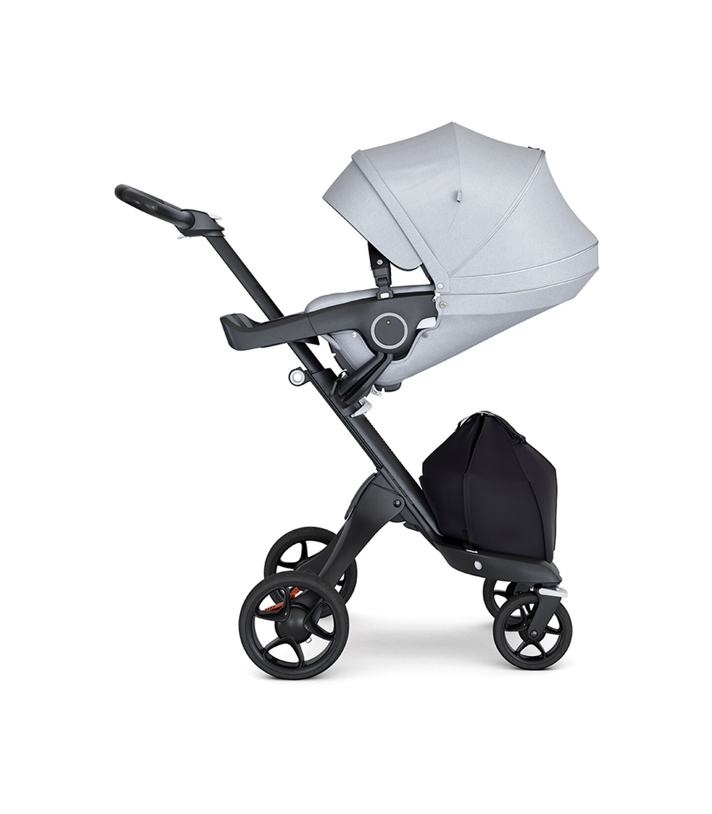 Stokke® Xplory® with Black Chassis and Leatherette Black handle. Stokke® Stroller Seat Grey Melange with extended canopy.