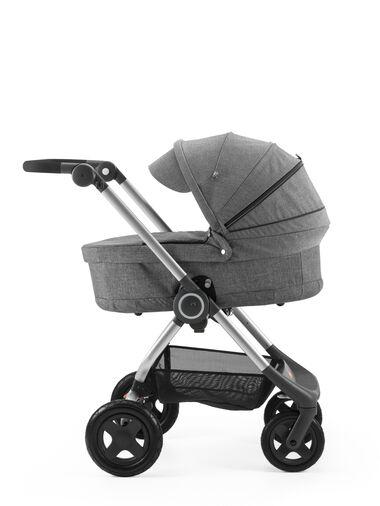 Stokke® Scoot™ with Carry Cot Black Melange and Black Melange Canopy.