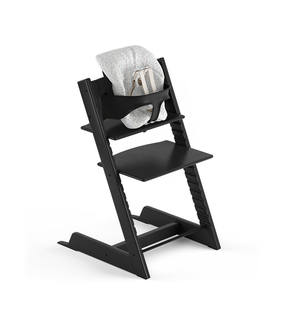Tripp Trapp® Black, Beech. With Tripp Trapp® Baby Set and Baby Cushion Soft Sprinkle. US version with Harness.