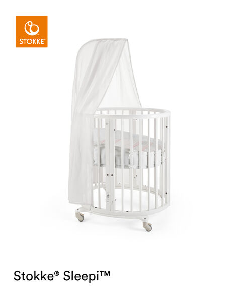 Stokke® Sleepi Mini, Natural. Canopy, Bumper and Fitted Sheet, Coral Straw. view 5