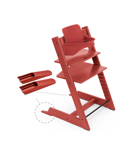 Tripp Trapp® Chair Warm Red, Beech, with Baby Set. view 4
