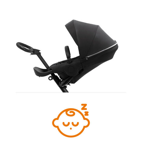 Stokke® Xplory® X Rich Black Stroller with Seat Parent Facing, sleep position.   view 8