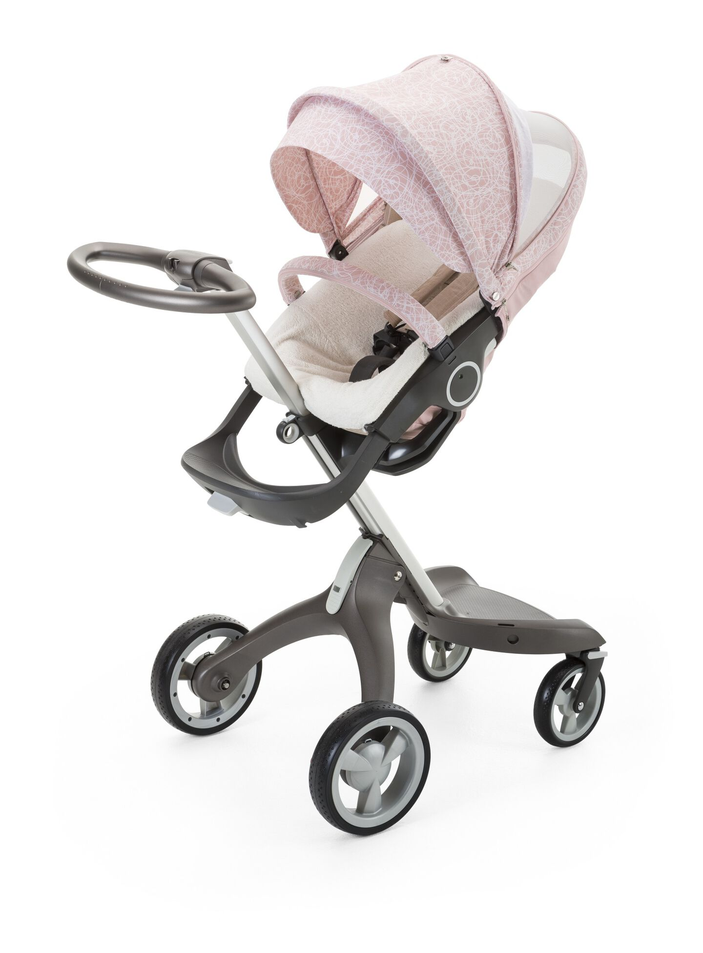 Stokke® Xplory® with Stokke® Stroller Summer Kit Scribble Faded Pink.