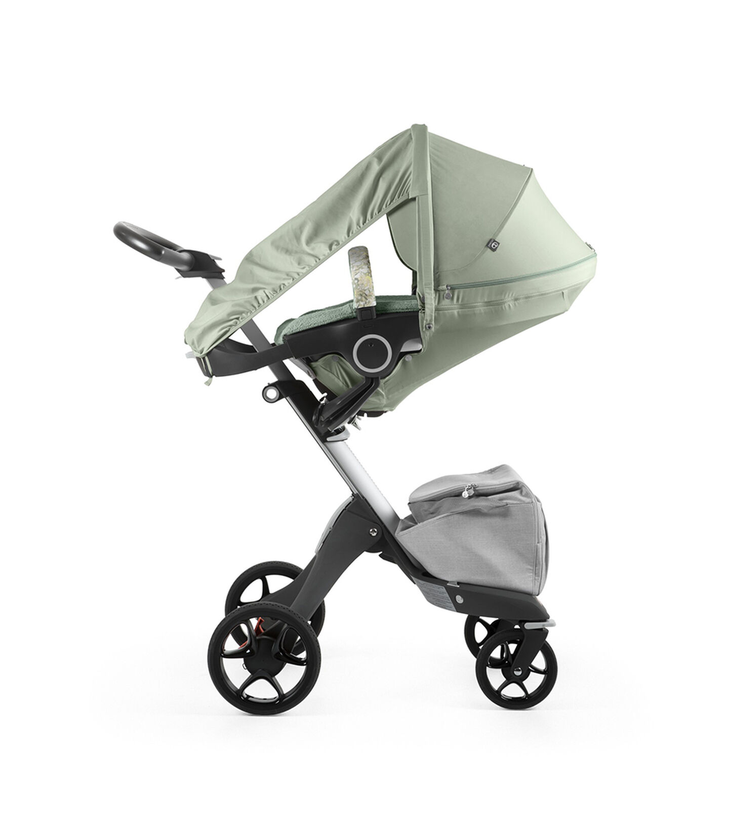 Stokke® Xplory® With Stokke® Stroller Seat and Flora Green Summer Kit.