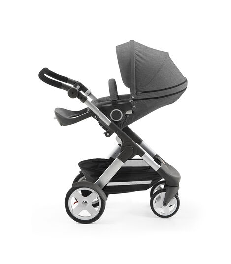 Stokke® Trailz with Stokke® Stroller Seat, parent facing, rest position. Black Melange. view 4