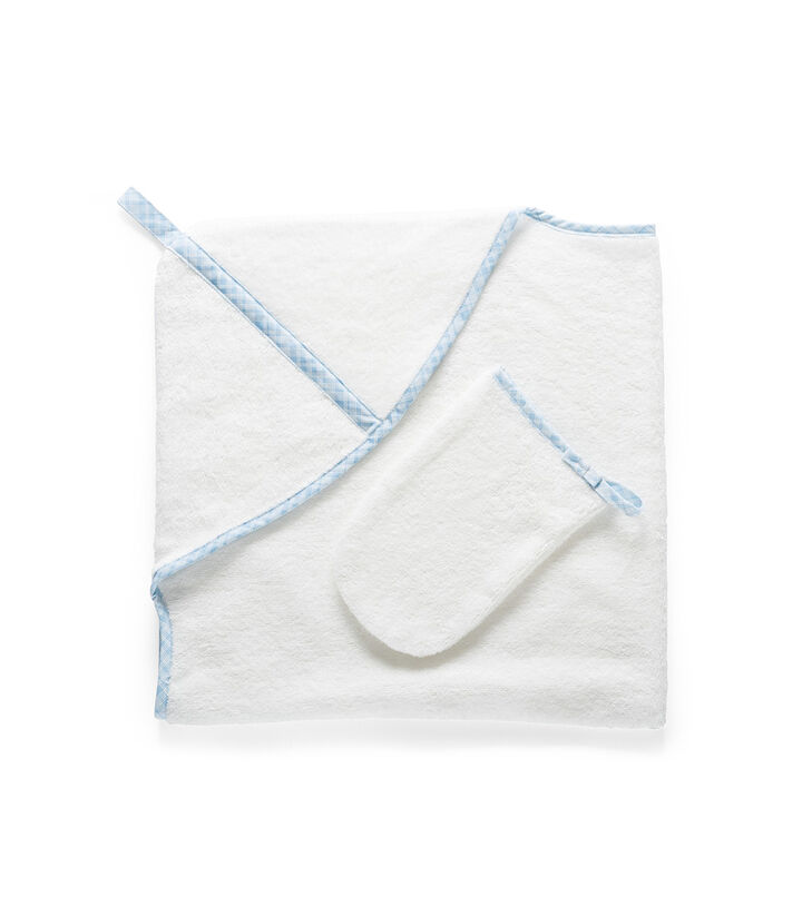 Stokke® Textiles. Hooded Towel, Blue checks.