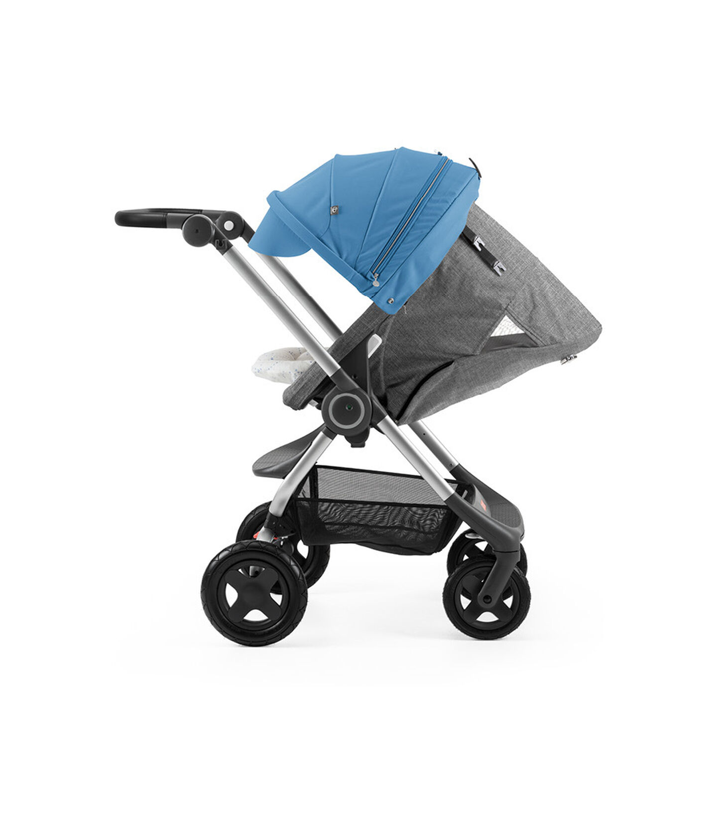 Stokke® Scoot™ with Black Melange seat and Blue Canopy. Parent Facing. Sleep position.