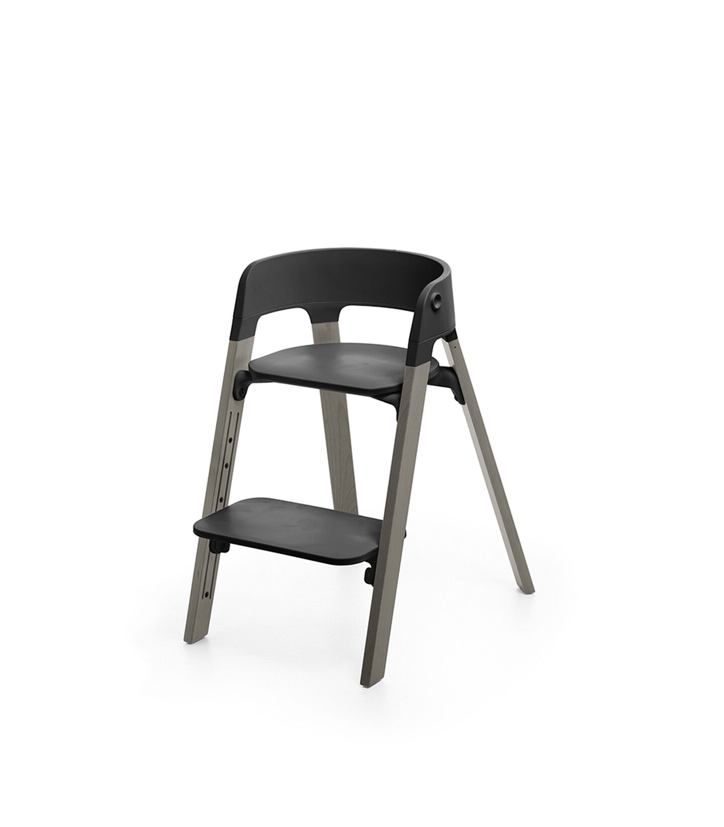 Stokke® Steps™ Chair, Beech Hazy Grey with Black Seat. Foortrest low.