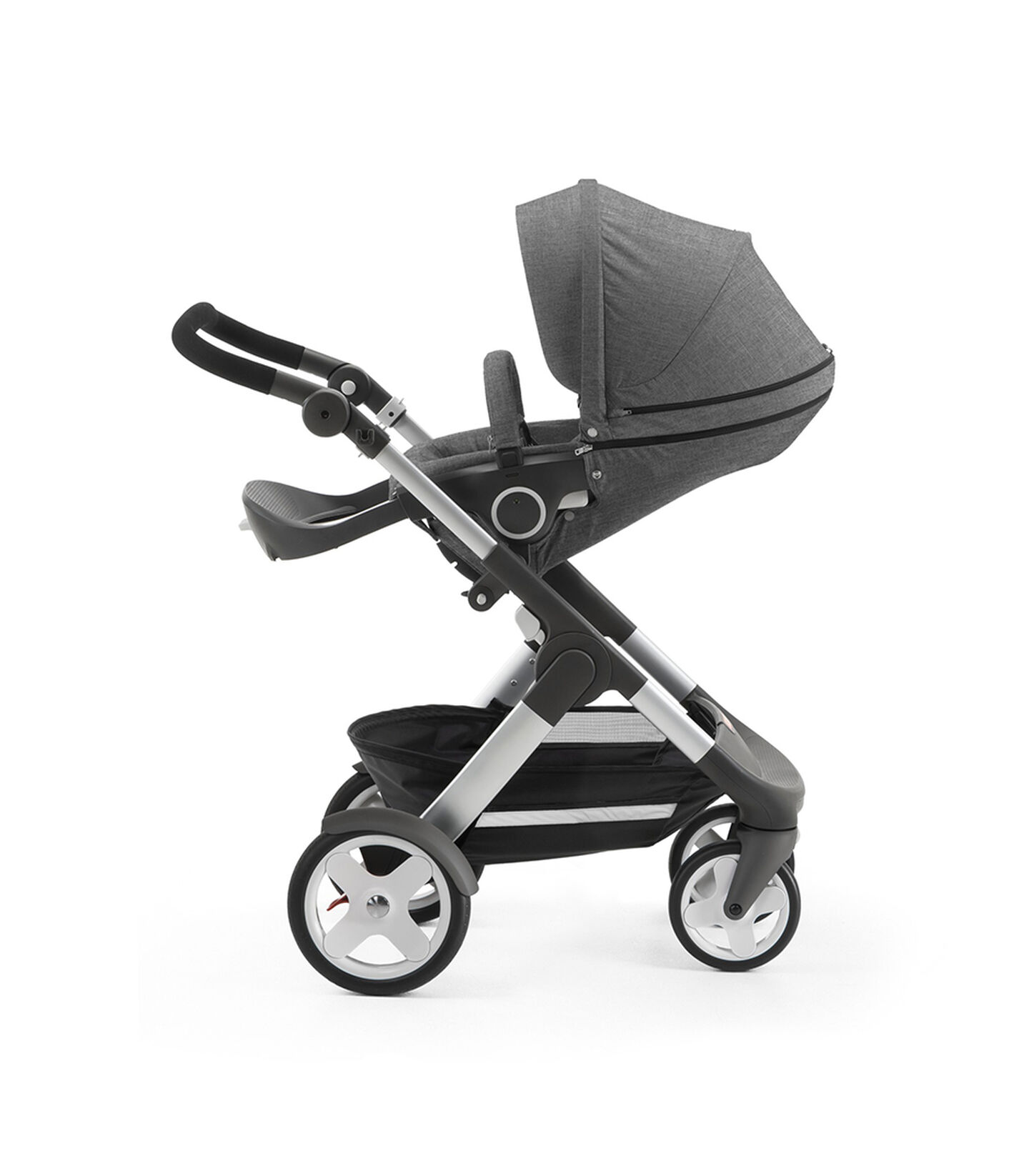 Stokke® Trailz with Stokke® Stroller Seat, parent facing, rest position. Black Melange.